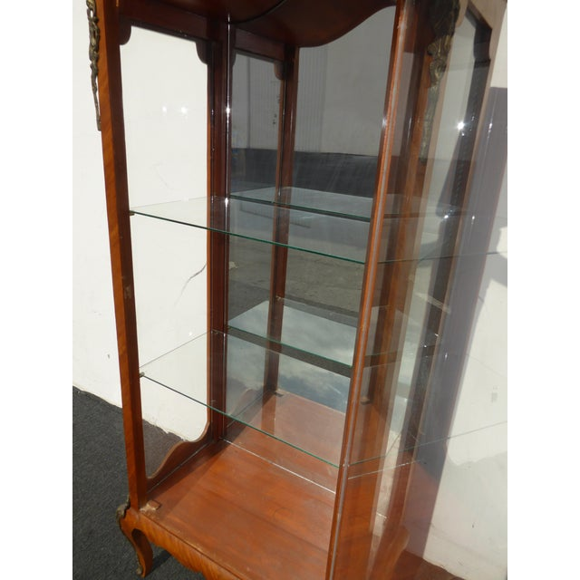 Vintage French Provincial Curio Cabinet Display Case Vitrine W Burlwood and Ormalu For Sale - Image 10 of 13