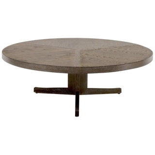 Large Round Cerused Oak Coffee Table on Triple Leg Base For Sale