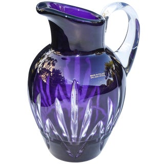 Amethyst Purple Crystal-Cut Pitcher For Sale