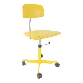 1960s Vintage Jørgen Rasmussen Danish Kevi Yellow Swivel Desk Chair For Sale