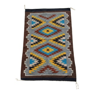 1990 Handmade Navajo Storm Pattern Rug - 2′2″ × 3′ For Sale