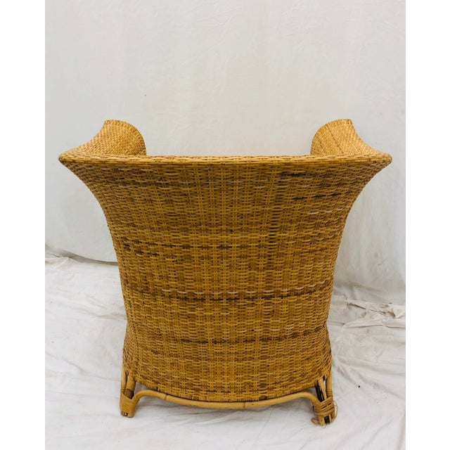 Vintage Palm Beach Chic Woven Wicker Arm Chair For Sale - Image 11 of 13