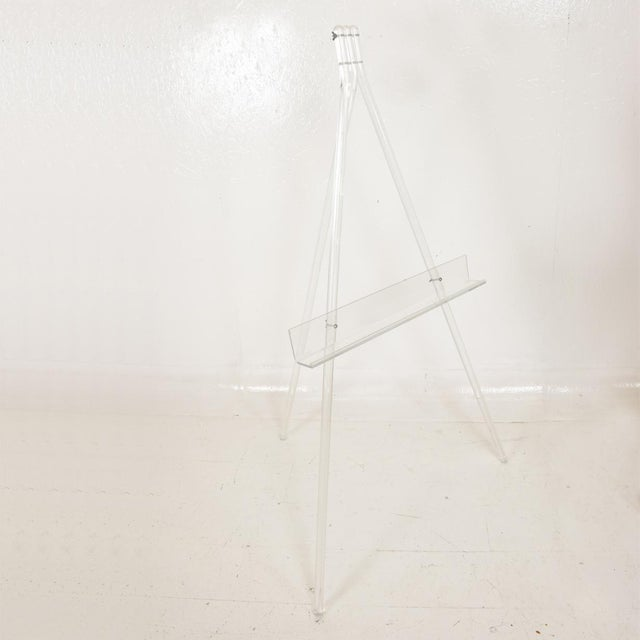 For your consideration, a Mid-Century Modern Lucite Easel. Charles Hollis Jones Attributed Unmarked, no information on the...