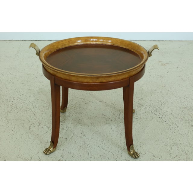 Maitland Smith Round Mahogany Tray Top Coffee Table For Sale - Image 9 of 9