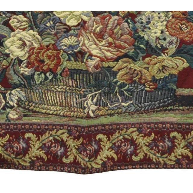 """Early 21st Century 51"""" X 36"""" French Wall Hanging Tapestry Jacquard Acanthus Floral Still Life Red For Sale - Image 5 of 8"""