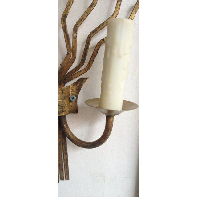 Mid-Century Modern Pair of Early 20th C Barcelona Freeform Gilt Sconces For Sale - Image 3 of 4