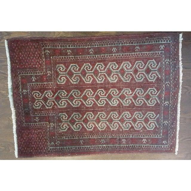 Cotton Dark Wool Turkish Rug - 2′8″ × 3′8″ For Sale - Image 7 of 8