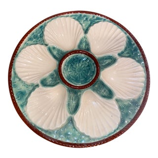 Vintage French Majolica Oyster Plate For Sale