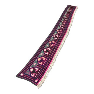 """Suzani Table Runner With Special Tassel - 12'1"""" x 1'5"""" For Sale"""