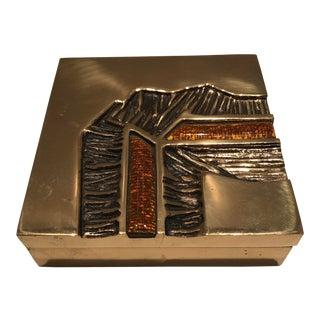 Studio Del Campo, Brutalist Design Italian Mid-Century Modernist Bronze and Enamel Box For Sale