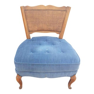 Vintage Mid 20th Century Modern Cane Back Blue Slipper Chair For Sale