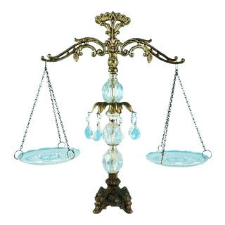 Vintage Ornate Cut Crystal Prism Brass & Italian Marble Scales of Justice For Sale