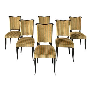 1940s Vintage French Art Deco Jules Leleu Dining Chairs - Set of 6 For Sale
