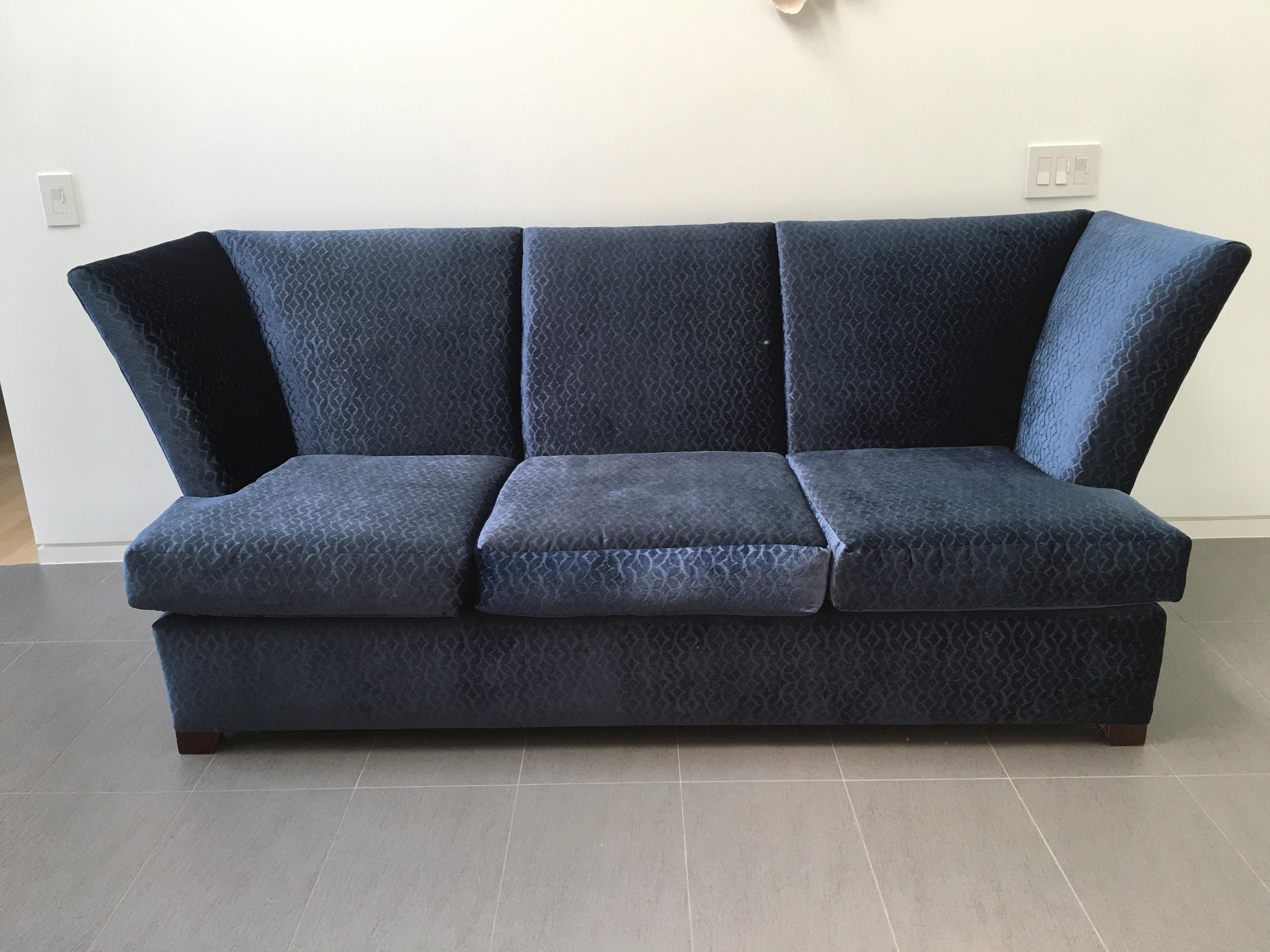 Contemporary Royal Blue Velvet Sofa By Gramercy Donghia   Image 2 Of 7