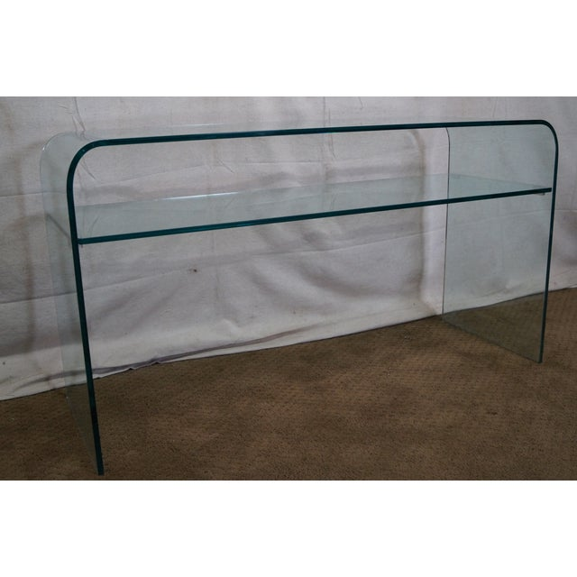 Mid-Century Modern Curved Glass Console Table For Sale - Image 9 of 10