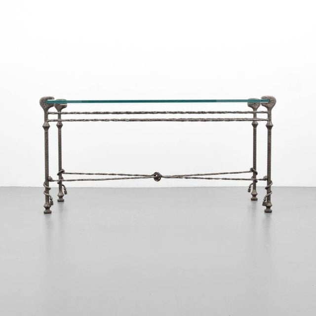 Modern Diego Giacometti style Mid-Century Hammered Iron Console Table For Sale - Image 3 of 8