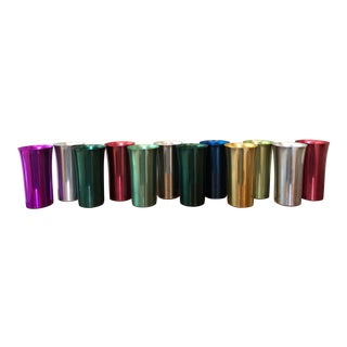 Mid-Century Colorful Bascal Aluminum Tumblers - Set of 12 For Sale