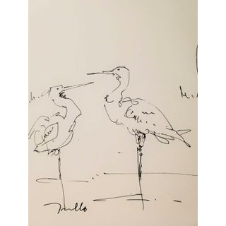 Contemporary Minimalist Marshland Landscape Ink Drawing with Birds by Jose Trujillo For Sale