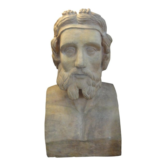 19th Century Monumental French Terra Cotta Bust of a Classical Greek For Sale - Image 11 of 11