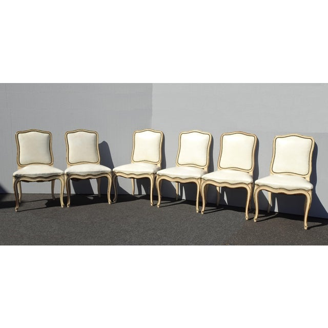 Six Vintage French Provincial Off White Leather Dining