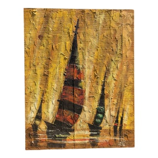 Mid-Century Regatta Painting on Plank Boards For Sale