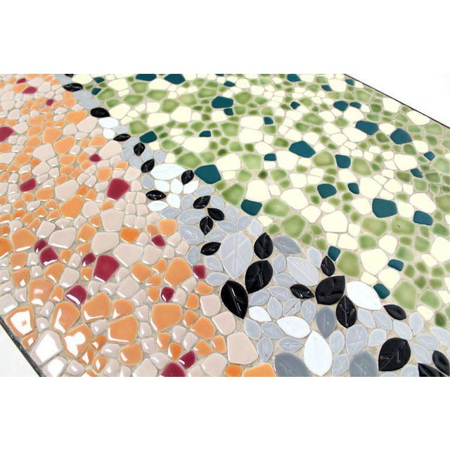 Mid-Century Modern Art Mosaic-Top Long Rectangular Table For Sale - Image 5 of 7