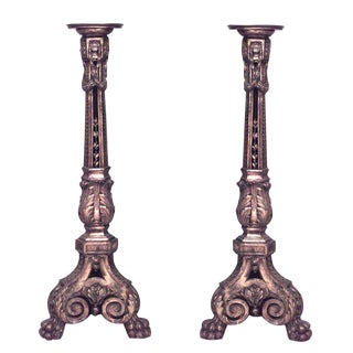 French Louis XVI Style 19th Century Carved Gilt Pedestals - a Pair For Sale