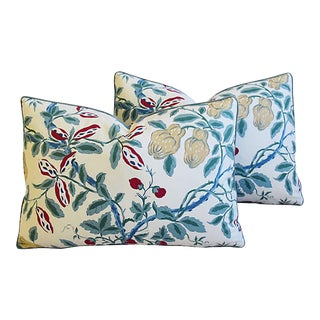 """French Manuel Canovas Floral Feather/Down Pillows 21"""" X 15"""" - Pair For Sale"""