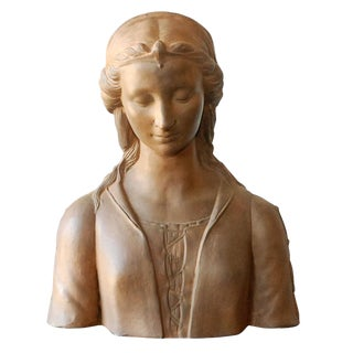 Late 19th Century Renaissance Style Italian Terra Cotta Bust of a Woman No 2
