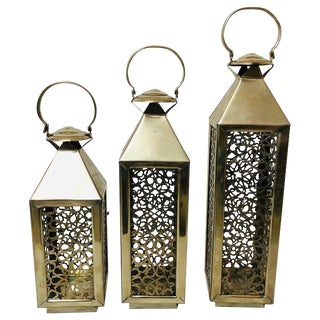 Vintage Moroccan Candle Lanterns- Set of 3 For Sale