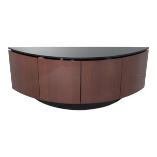 Italian Lacquer Crescent Shaped Credenza Sideboard Buffet Style of Ello For Sale