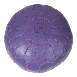 Vintage Mid Century Hand-Tooled Moroccan Lavender Color Leather Pouf For Sale