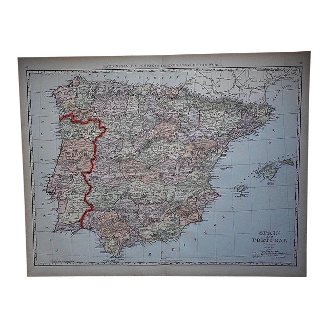 "Antique Map of Spain & Portugal-27.5""x21.25"" For Sale"