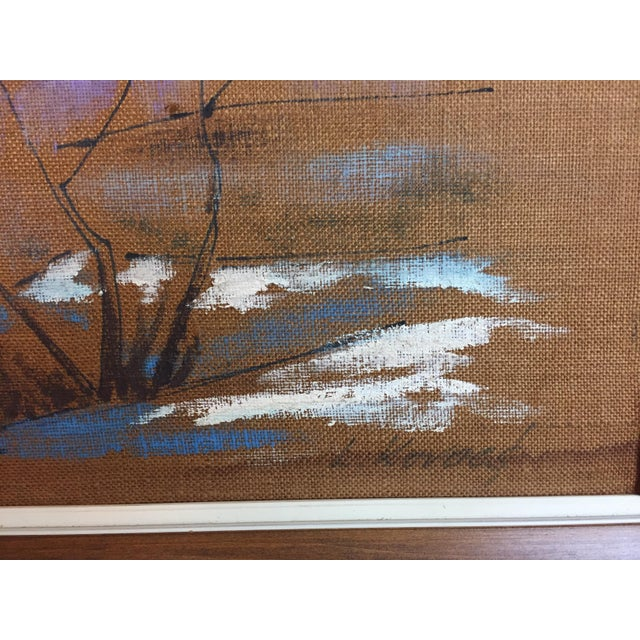 Boho Chic Mid Century Modern Burlap Painting by Levente Kovacs For Sale - Image 3 of 11