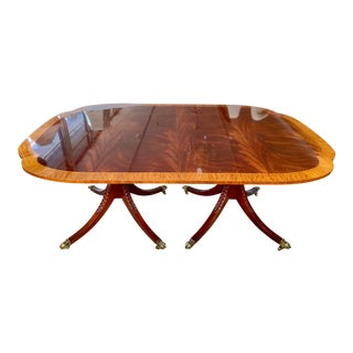 Traditional Baker Double Pedestal Flame Mahogany Dining Table For Sale