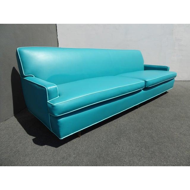 Mid-Century Turquoise Vinyl Sofa - Image 4 of 11