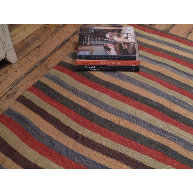 Banded Kilim Wide Runner For Sale - Image 4 of 6