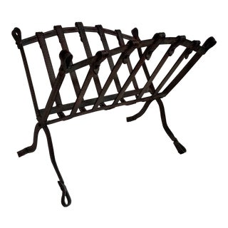 Jacques Adnet Style Design Faux Crocodile Magazine Rack For Sale