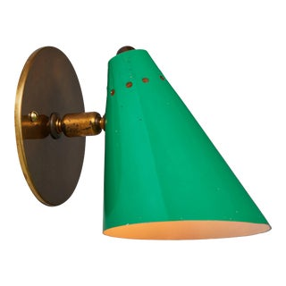 1950s Italian Green Cone Sconce in the Manner of Arteluce For Sale