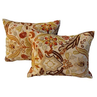 Floral Crewelwork Pillows - A Pair For Sale