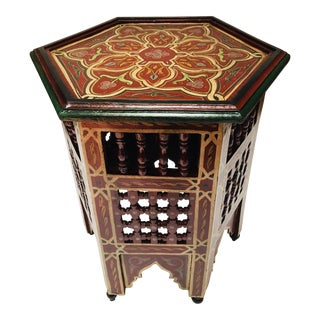 Moroccan Hand-Painted Side Table With Moorish Designs For Sale