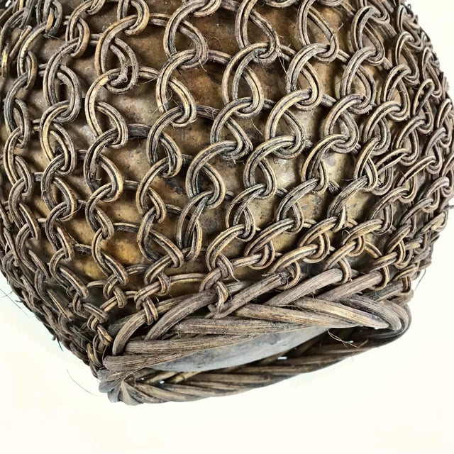Primitive Javanese Hand Woven Covered Gourd Container For Sale - Image 9 of 11