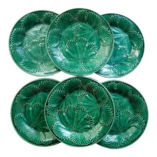 Green Leaf Majolica Plates - Set of 6 For Sale