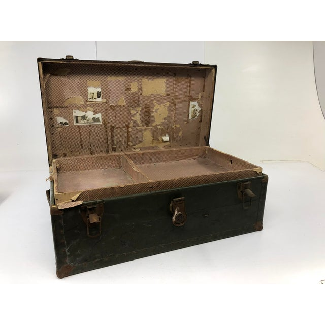 Vintage Industrial Green Wood Military Foot Locker Trunk W Tray For Sale - Image 10 of 13