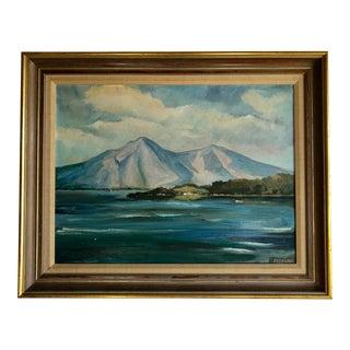 Framed Coastal Landscape Oil on Canvas Painting For Sale