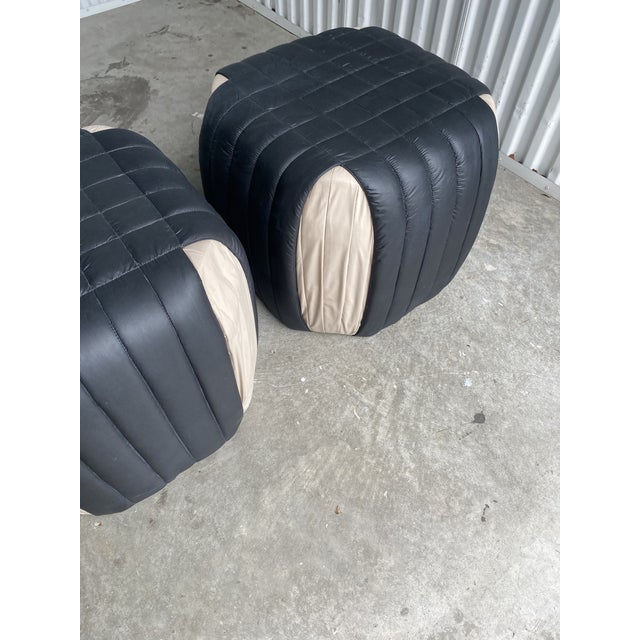 1980s Poufs Upholstered Ottomans - a Pair For Sale - Image 4 of 8
