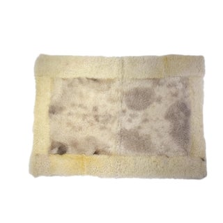 "Sheepskin Rug Eco-Friendly Sheep Wool Mat Off-White Gray 2'6""x3'5"" For Sale"