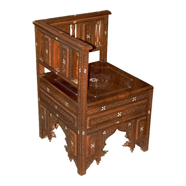 Brown Moroccan Style Hand Carved Wooden Corner Chair For Sale - Image 8 of 8