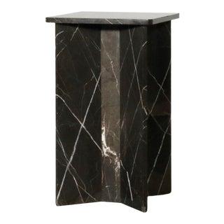 1990s Minimalist X Form Nero Marquina Marble Side Table