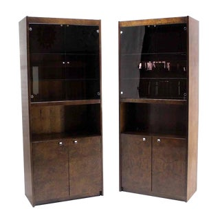 Burl Walnut Wall Unit Pieces W/ Interior Lights - A Pair For Sale